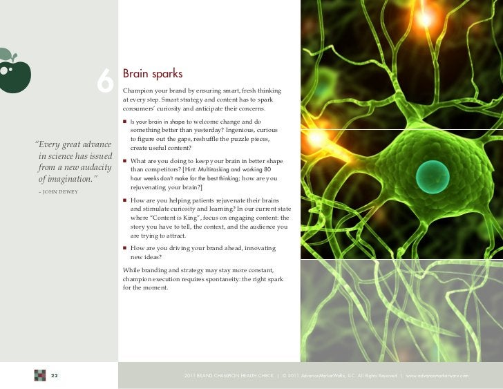 6        Brain sparks                          Champion your brand by ensuring smart, fresh thinking                      ...