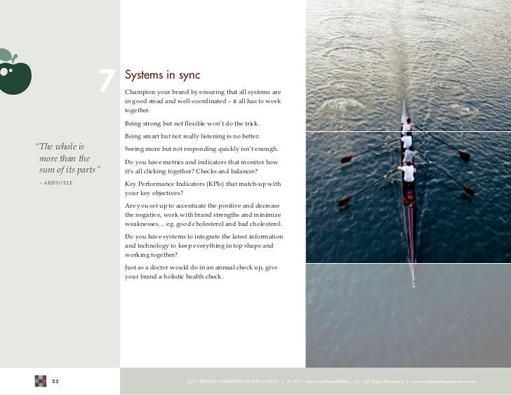 7    Systems in sync                      Champion your brand by ensuring that all systems are                      in goo...