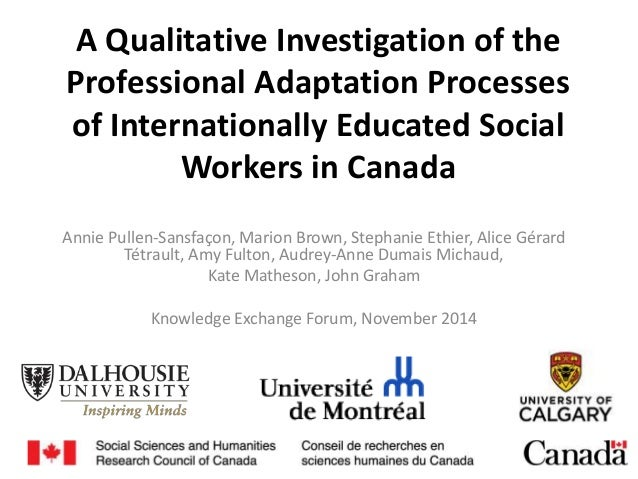 A Qualitative Investigation of the Professional Adaptation Processes of Internationally Educated Social Workers in Canada ...