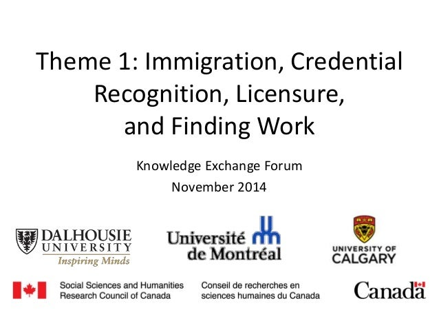 Theme 1: Immigration, Credential Recognition, Licensure, and Finding Work Knowledge Exchange Forum November 2014