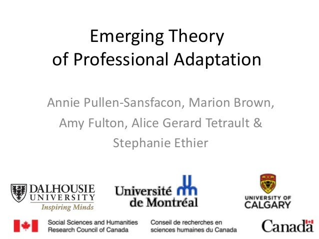 Emerging Theory of Professional Adaptation Annie Pullen-Sansfacon, Marion Brown, Amy Fulton, Alice Gerard Tetrault & Steph...