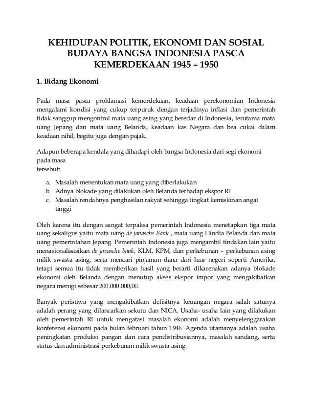 Kehidupan Politik Ekonomi Dan Sosial Budaya Bangsa Indonesia Pasca K