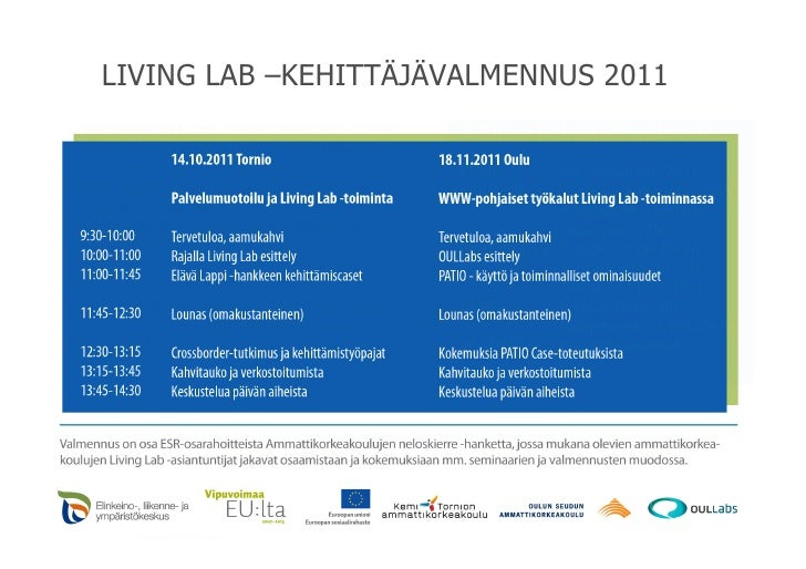 LIVING LAB –KEHITTÄJÄVALMENNUS 2011