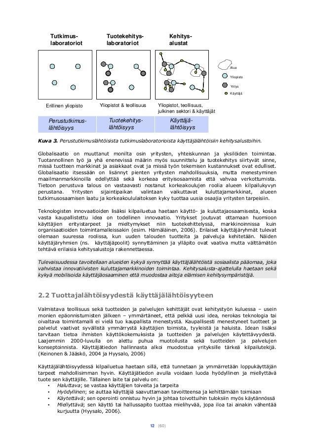 12 (60) Yliopisto Yritys Käyttäjä Tutkimus- laboratoriot Erillinen yliopisto Tuotekehitys- laboratoriot Yliopistot & teoll...