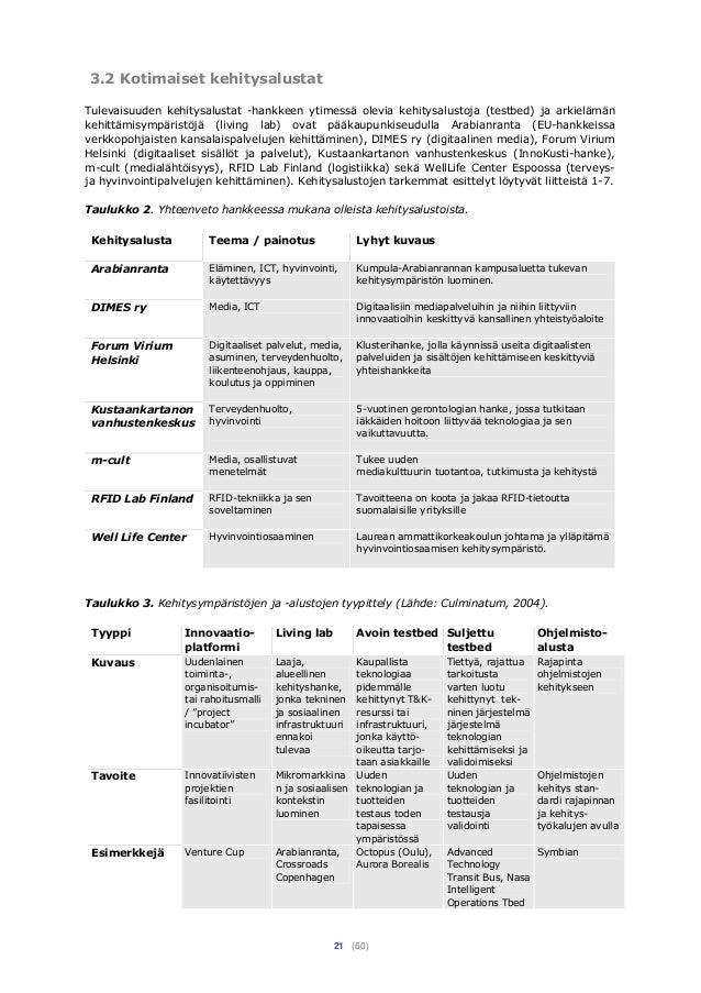 21 (60) 3.2 Kotimaiset kehitysalustat Tulevaisuuden kehitysalustat -hankkeen ytimessä olevia kehitysalustoja (testbed) ja ...