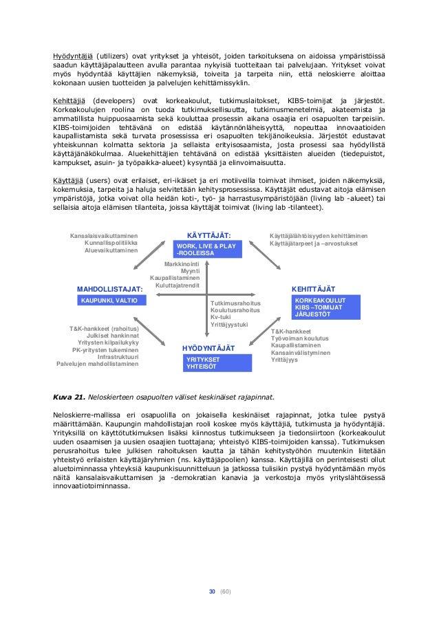 30 (60) Hyödyntäjiä (utilizers) ovat yritykset ja yhteisöt, joiden tarkoituksena on aidoissa ympäristöissä saadun käyttäjä...