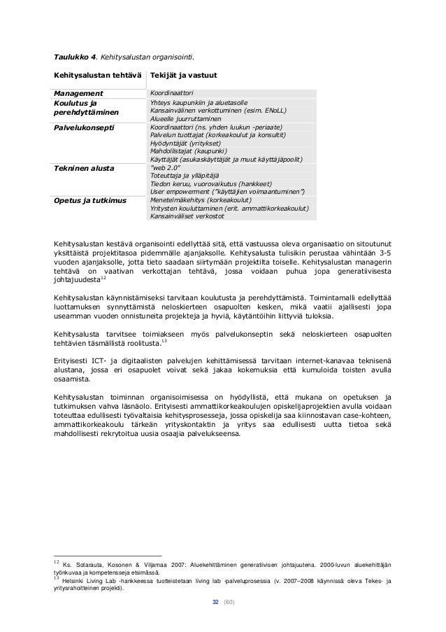 32 (60) Taulukko 4. Kehitysalustan organisointi. Kehitysalustan tehtävä Tekijät ja vastuut Management Koordinaattori Koulu...