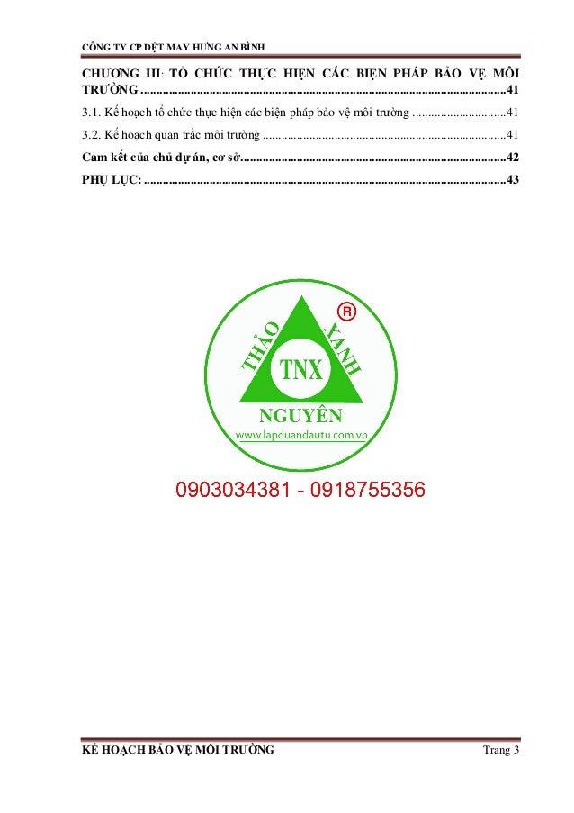 Kế hoạch bảo vệ môi trường Dự án xưởng dệt may tai TPHCM 0903034381 Slide 3