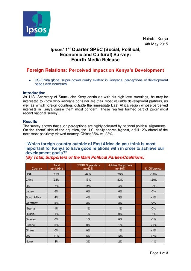 Page 1 of 3 Nairobi, Kenya 4th May 2015 Ipsos' 1st Quarter SPEC (Social, Political, Economic and Cultural) Survey: Fourth ...