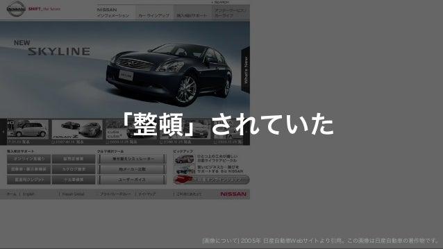 「整頓」されていた [画像について] 2005年 日産自動車Webサイトより引用。この画像は日産自動車の著作物です。