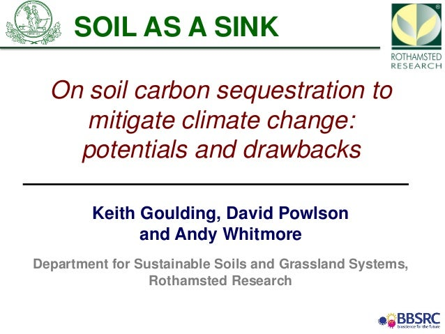 On soil carbon sequestration tomitigate climate change:potentials and drawbacksKeith Goulding, David Powlsonand Andy Whitm...