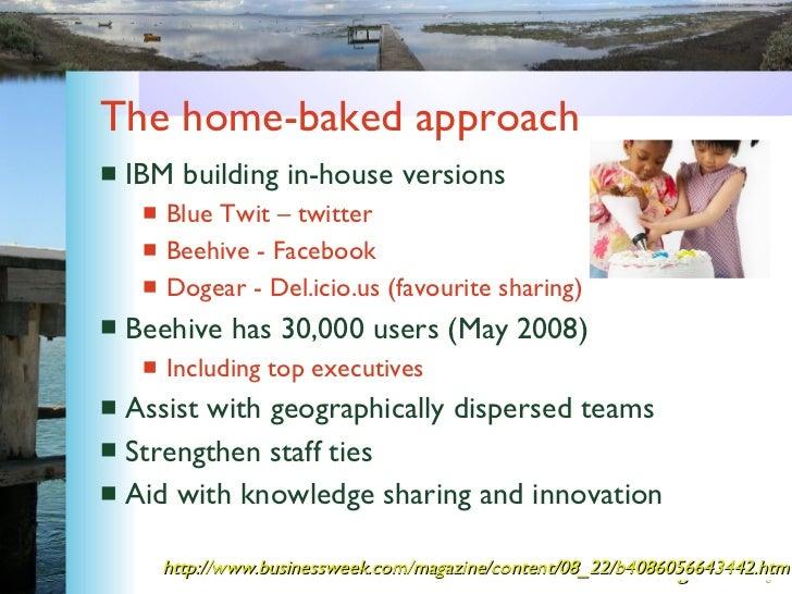 The home-baked approach <ul><li>IBM building in-house versions </li></ul><ul><ul><li>Blue Twit – twitter </li></ul></ul><u...