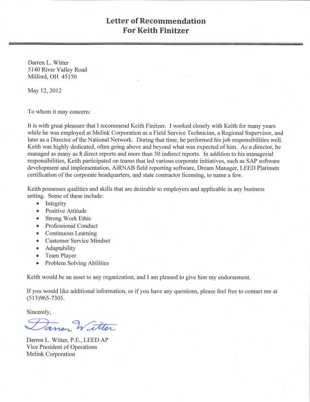 Keith Finitzer Letter Of Recommendation From Darren Witter Vice Pr