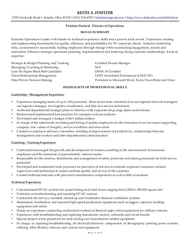 keith a finitzer resume With plastic injection molding sample resume