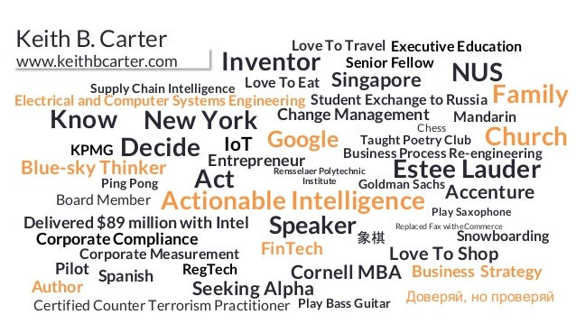 www.keithbcarter.com Estee LauderGoldman Sachs Accenture Chess Cornell MBA Supply Chain Intelligence Business Process Re-e...