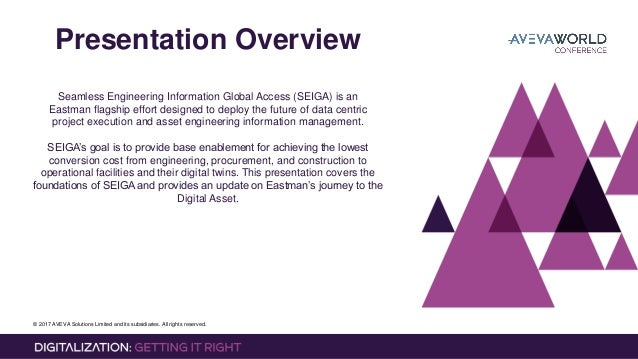 © 2017 AVEVA Solutions Limited and its subsidiaries. All rights reserved. Presentation Overview Seamless Engineering Infor...