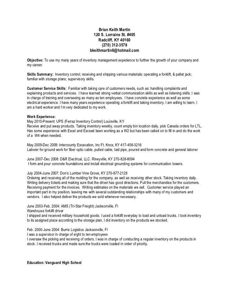 Forklift Resume sample forklift operator resume robert prentice telephone power plant operator resume sample refinery operator resume examples Brian Keith Martin