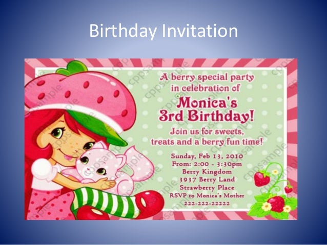 example invitation card birthday party