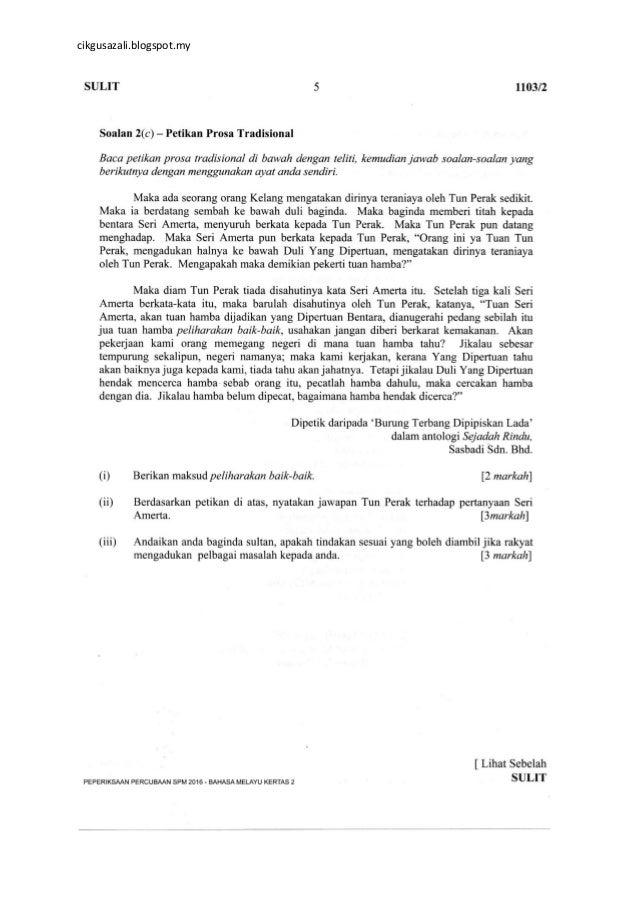 Soalan Percubaan Spm 2016 Bahasa Melayu Kertas 2