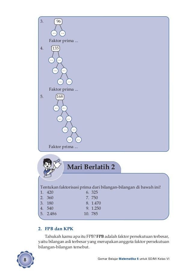 Gemar Belajar Matematika 6 Untuk Siswa SD/MI Kelas VI