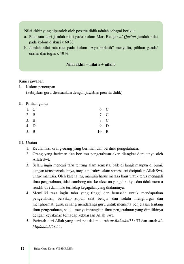 Contoh Soal Agama Islam Kelas 7 Thaharah Dan Kunci Jawaban