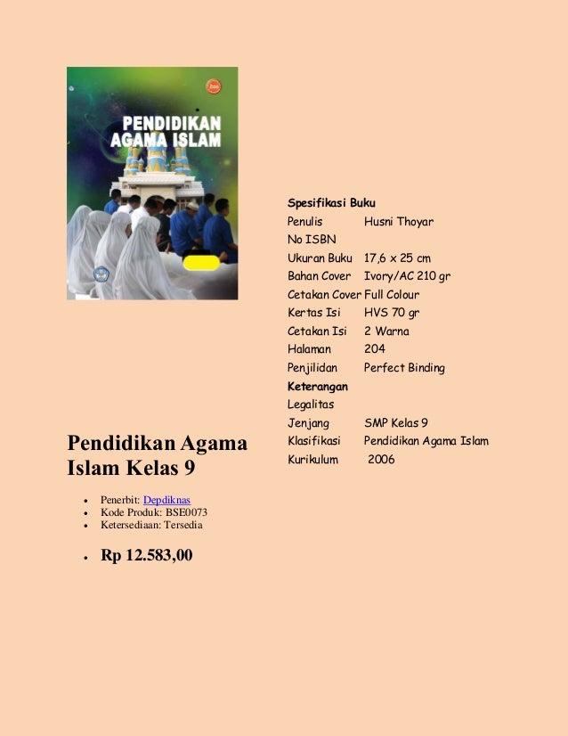 buku pendidikan agama islam kelas ix penerbit swadaya murni