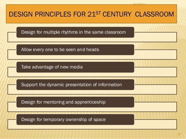 Design for multiple rhythms in the same classroom Allow every one to be seen and heads Take advantage of new media Support...