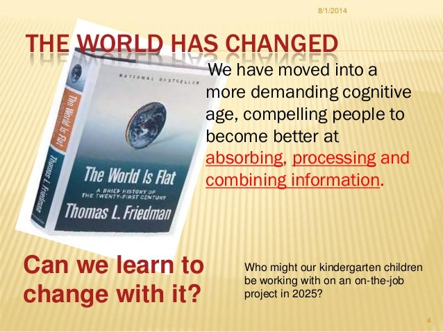 THE WORLD HAS CHANGED We have moved into a more demanding cognitive age, compelling people to become better at absorbing, ...