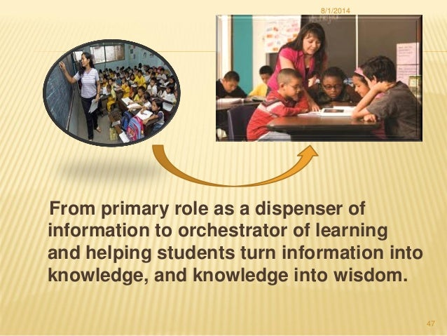 From primary role as a dispenser of information to orchestrator of learning and helping students turn information into kno...
