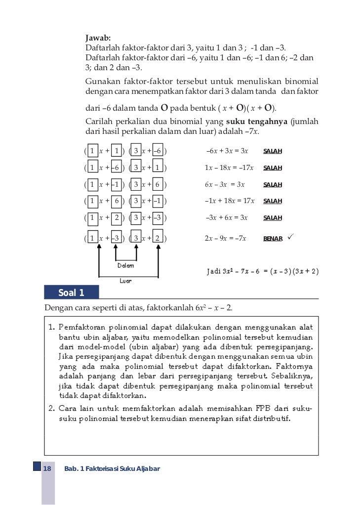 Kelas viii smp matematikaendah budi rahaju 1 faktorisasi suku aljabar 24 d memfaktorkan selisih dari ccuart Gallery