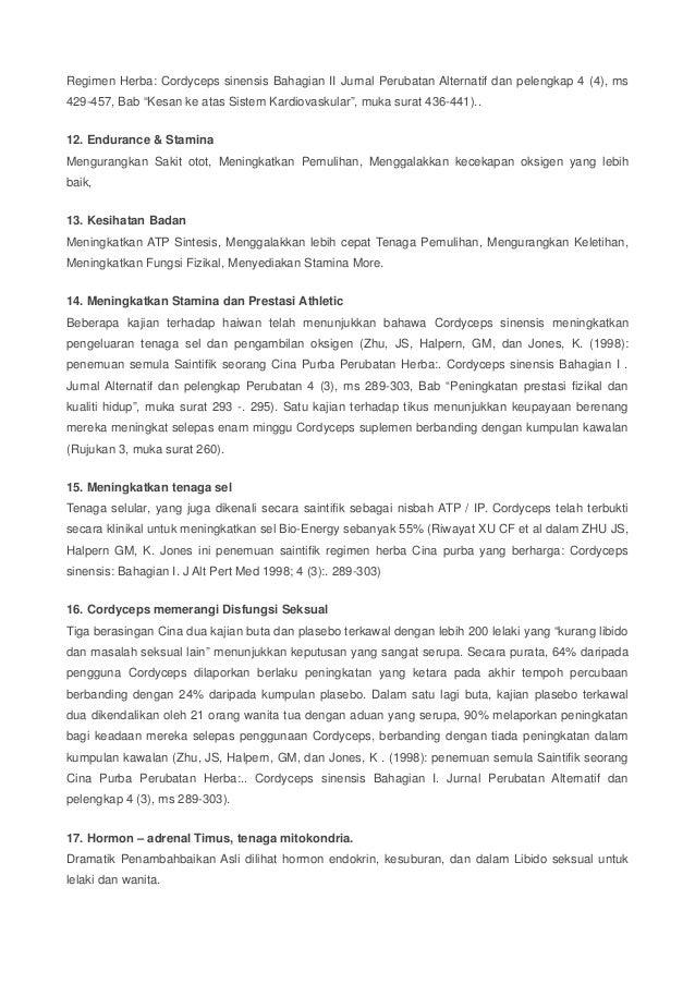 """Regimen Herba: Cordyceps sinensis Bahagian II Jurnal Perubatan Alternatif dan pelengkap 4 (4), ms  429-457, Bab """"Kesan ke ..."""