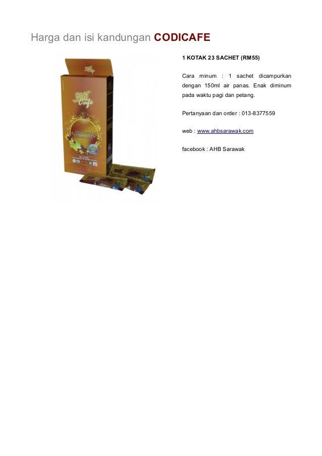 Harga dan isi kandungan CODICAFE  1 KOTAK 23 SACHET (RM55)  Cara minum : 1 sachet dicampurkan  dengan 150ml air panas. Ena...