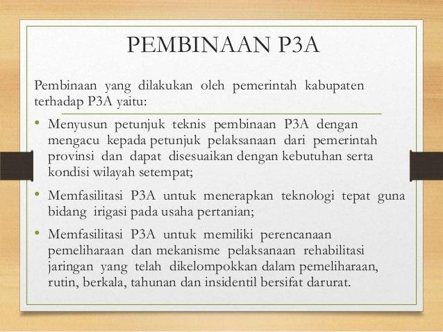 PEMBINAAN P3A Pembinaan yang dilakukan oleh pemerintah kabupaten terhadap P3A yaitu: • Menyusun petunjuk teknis pembinaan ...