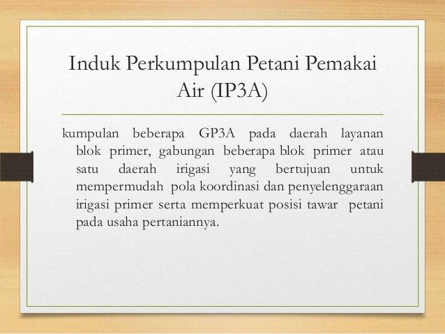 Induk Perkumpulan Petani Pemakai Air (IP3A) kumpulan beberapa GP3A pada daerah layanan blok primer, gabungan beberapa blok...