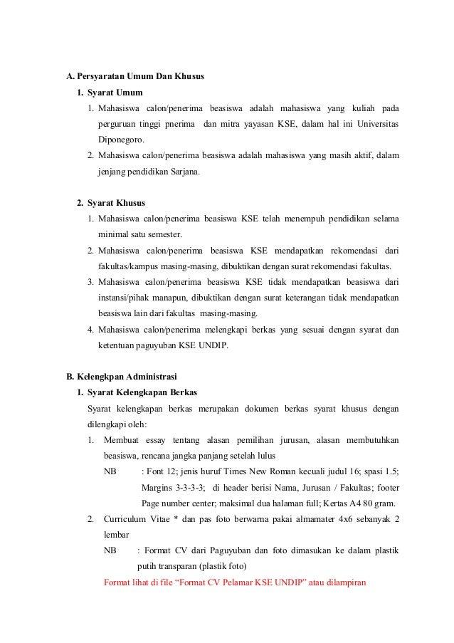 Kelengkapan Administrasi Berkas Untuk Pelamar Beasiswa Kse