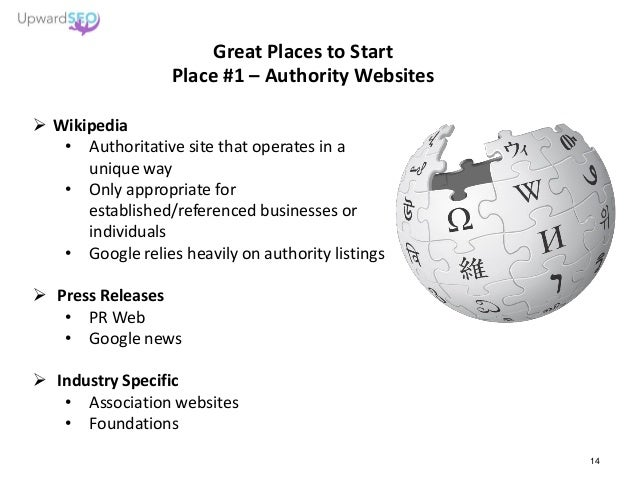 Great Places to Start Place #1 – Authority Websites  Wikipedia • Authoritative site that operates in a unique way • Only ...