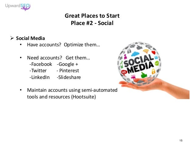Great Places to Start Place #2 - Social  Social Media • Have accounts? Optimize them… • Need accounts? Get them… -Faceboo...
