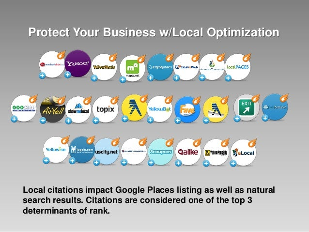 Protect Your Business w/Local Optimization Local citations impact Google Places listing as well as natural search results....