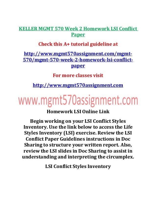 Keller mgmt 570 week 2 homework lsi conflict paper