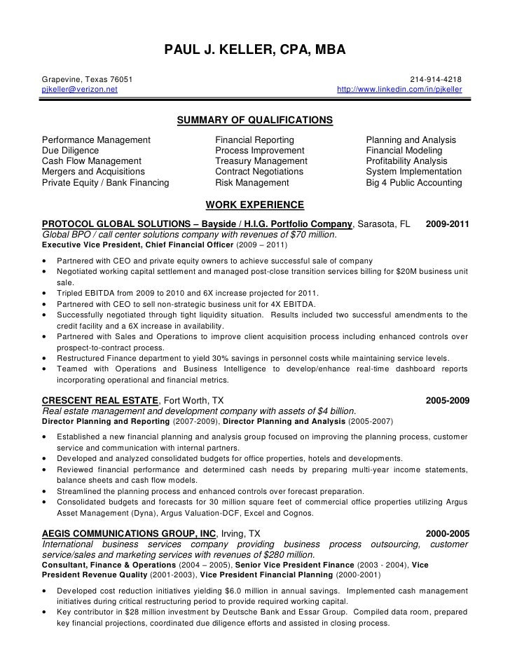 Keller Paul J Resume