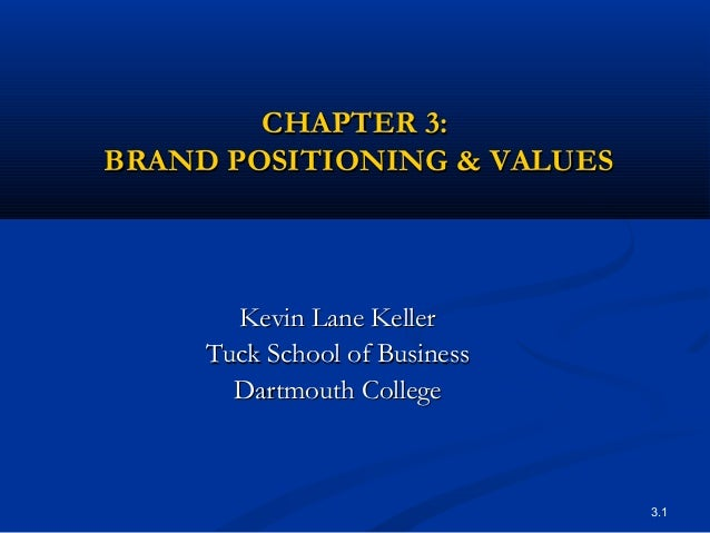 3.1CHAPTER 3:CHAPTER 3:BRAND POSITIONING & VALUESBRAND POSITIONING & VALUESKevin Lane KellerKevin Lane KellerTuck School o...