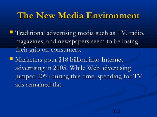 The New Media Environment   Traditional advertising media such as TV, radio,    magazines, and newspapers seem to be losi...