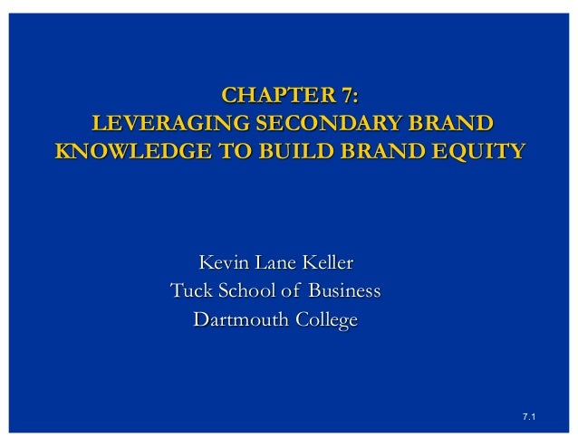 7.1 CHAPTER 7: LEVERAGING SECONDARY BRAND KNOWLEDGE TO BUILD BRAND EQUITY Kevin Lane Keller Tuck School of Business Dartmo...