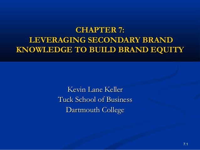 CHAPTER 7:  LEVERAGING SECONDARY BRANDKNOWLEDGE TO BUILD BRAND EQUITY         Kevin Lane Keller       Tuck School of Busin...