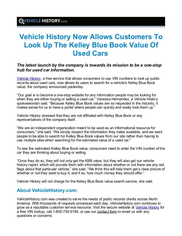 Vehicle History Now Allows Customers To Look Up The Kelley Blue Book …