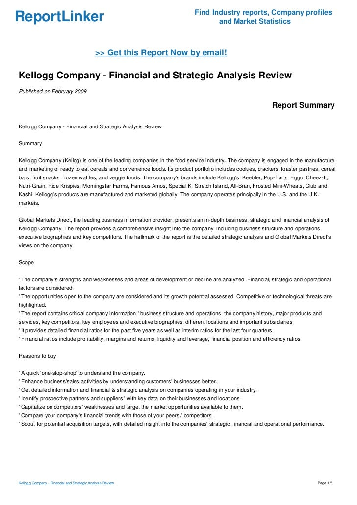 Kellogg Company - Financial and Strategic Analysis Review