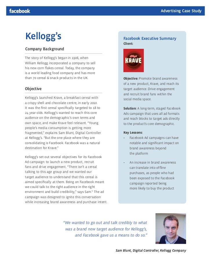 Advertising Case StudyKellogg's                                                     Facebook Executive Summary            ...