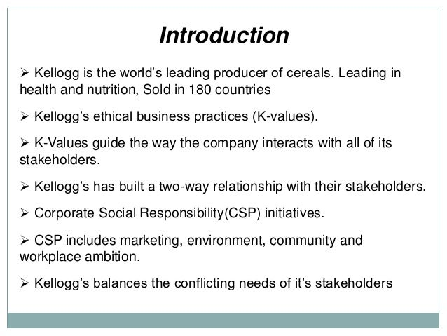 identify kelloggs key internal and external stakeholders