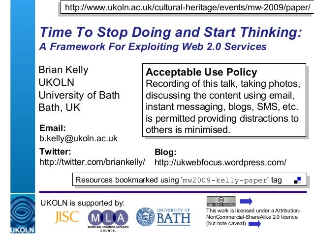 A centre of expertise in digital information management Time To Stop Doing and Start Thinking: A Framework For Exploiting ...