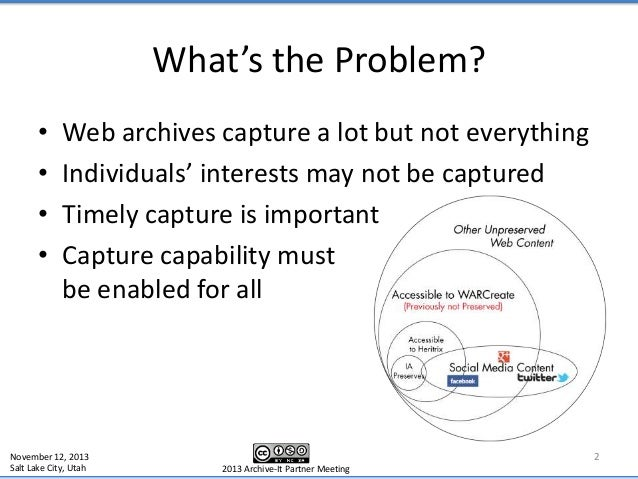 Archive What I See Now - Archive-It Partner Meeting 2013 2013 Slide 2